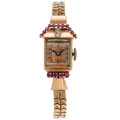 Estate Jewelry:Watches, Retro Lucien Piccard, Lady's Diamond, Ruby, Rose Gold Watch . ...
