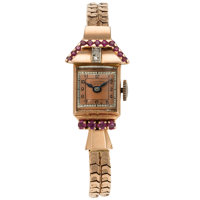 Retro Lucien Piccard, Lady's Diamond, Ruby, Rose Gold Watch