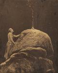 Photographs, Edward Sheriff Curtis (American, 1868-1952). Signal Fire to the Mountain God, 1909. Orotone. 13-5/8 x 10-5/8 inches (34....