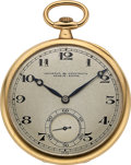 Timepieces:Pocket (post 1900), Vacheron & Constantin Fine 18k Gold Pocket Watch, circa 1918. ...