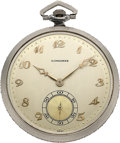 Timepieces:Pocket (post 1900), Longines Diamond Rim Platinum Watch, circa 1920's. ...