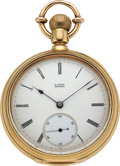 Timepieces:Pocket (pre 1900) , A. Lange & Söhne Dresden, Early 18k Gold First Quality Watch, circa 1875. ...