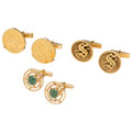 Estate Jewelry:Cufflinks, Nephrite Jade, Gold Coin, Gold Cuff Links. ... (Total: 3 Items)