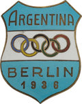 Olympic Collectibles:Autographs, 1936 Team Argentina/Berlin Olympic Games Pin....