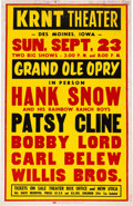 Music Memorabilia:Posters, Patsy Cline/Hank Snow KRNT Concert Poster (1962). Very Rare....