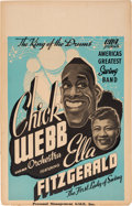 Music Memorabilia:Posters, Ella Fitzgerald/Chick Webb Concert Poster (CRA Presents, late1930s). Extremely Rare....