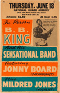 Music Memorabilia:Posters, BB King National Guard Armory Concert Poster (1959). ExtremelyRare....