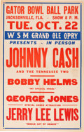 Music Memorabilia:Posters, Johnny Cash/Jerry Lee Lewis Gator Bowl Park Concert Poster (1957). Extremely Rare....