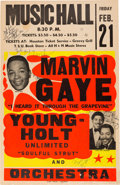 Music Memorabilia:Posters, Marvin Gaye Signed Music Hall Concert Poster (1969). ExtremelyRare. ...