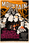 Music Memorabilia:Posters, Black Sabbath/Mountain Seattle Center Arena Concert Poster(Concerts West Presents, 1971). Very Rare....