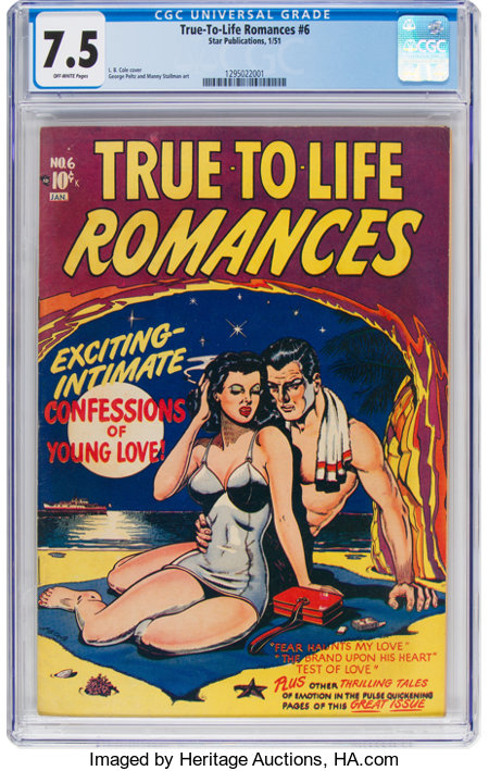 True-To-Life Romances #6 (Star Publications, 1951) CGC VF- 7.5 Off-white pages....