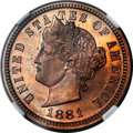 1881 5C Liberty Head Five Cents, Judd-1672, Pollock-1873, R.6-7, PR64 Red and Brown Cameo NGC....(PCGS# 72068)