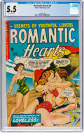 Golden Age (1938-1955):Romance, Romantic Hearts #8 (Master Publications, 1954) CGC FN- 5.5Off-white pages....