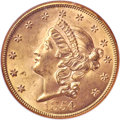 Liberty Double Eagles, 1854 $20 Large Date MS64 NGC. CAC....