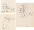 Animation Art:Production Drawing, Mickey's Service Station Mickey Mouse, Donald Duck, andGoofy Animation Drawings Group of 3 (Walt Disney, 1935). ...(Total: 3 Original Art)