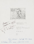 Animation Art:Concept Art, Walt Disney Stamp Design Concept Art Signed by Roy E. Disney with Vintage Photo (Walt Disney, c. 2001).... (Total: 2 Items)