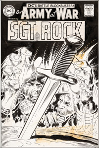 Joe Kubert Our Army At War #189 Cover Sgt. Rock Original Art, Color Guide, and Cover Proof Group of 3 (DC, 1968)