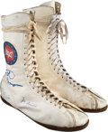 Boxing Collectibles:Autographs, 1980's Boxing Greats Multi-Signed Shoes....