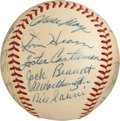 Baseball Collectibles:Balls, 1956 New York Giants Team Signed Baseball from The Gene KirbyCollection. ...