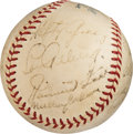 Baseball Collectibles:Balls, 1935 American League All-Star Team Signed Baseball - Includes AllNine Starters....