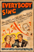 "Movie Posters:Musical, Everybody Sing (MGM, 1938). One Sheet (27"" X 41"") Style D, Al Hirschfeld and Ted ""Vincentini"" Ireland Artwork. Musical.. ..."
