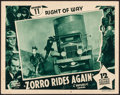 "Movie Posters:Serial, Zorro Rides Again (Republic, 1937). Lobby Card (11"" X 14"") Chapter11 -- ""Right of Way."" Serial.. ..."
