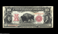 Fr. 116 $10 1901 Legal Tender About Uncirculated. Light handling and a touch of natural paper ripple define this scarcer...
