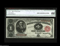 Large Size:Treasury Notes, Fr. 351 $1 1891 Treasury Note CGA Gem Uncirculated 66. Bright, fresh and clearly original. The note has wonderful color, bro...