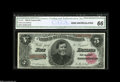 Large Size:Treasury Notes, Fr. 361 $5 1890 Treasury Note CGA Gem Uncirculated 66. This is the first note from a lovely cut sheet of 1890 Treasury $5's....