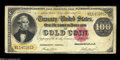 Large Size:Gold Certificates, Fr. 1214 $100 1882 Gold Certificate Fine. There are a few scatteredpinholes and a hint of margin roughness, but this note i...