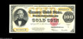 Large Size:Gold Certificates, Fr. 1215 $100 1922 Gold Certificate Extremely Fine-About New. Thissuper-looking $100 Gold with wonderful color and nice mar...