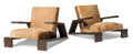Furniture : French, Comte (Argentinian). Pair of Elephant Lounge Chairs, 1940s, Comte S.R.L., Argentina. Oak, cowhide. 28 x 35 x 42-1/2 ... (Total: 2 Items)