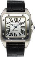 "Timepieces:Wristwatch, Cartier ""Santos 100, Automatic 1904-2004"". Made in 2004 to commemorate the 100th anniversary of the Santos wristwatch.. ..."