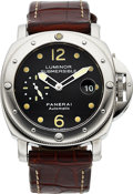 Timepieces:Wristwatch, Panerai, Luminor Submersible Automatic, PAM 024, Stainless Steel, B1341/1500, Circa 1999. ...