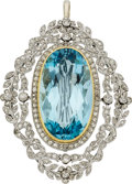 Estate Jewelry:Brooches - Pins, Edwardian Aquamarine, Diamond, Platinum, Gold Pendant-Brooch. ...