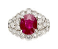 Estate Jewelry:Rings, Ruby, Diamond, White Gold Ring The ring featur...