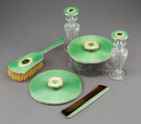 A Six-Piece American Guilloché Enameled and Jade-Mounted Silver Vanity Set, circa 1925 Marks: HAND WROUGHT, STE...