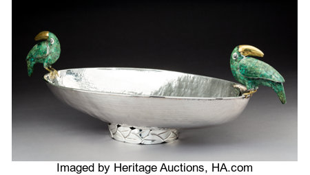 A Large Emilia Castillo Silver Center Bowl Marks: EMILIA CASTILLO, 925, MEXICO, M.R., TO-85 9-3/4 x 32 x 10-1/4 inches...
