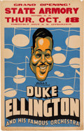 Music Memorabilia:Posters, Duke Ellington State Armory Concert Poster (Mills Artists Inc.Present, 1934). Very Rare....