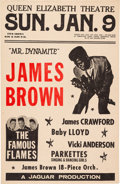 Music Memorabilia:Posters, James Brown Queen Elizabeth Theatre Concert Poster (1966).Extremely Rare....
