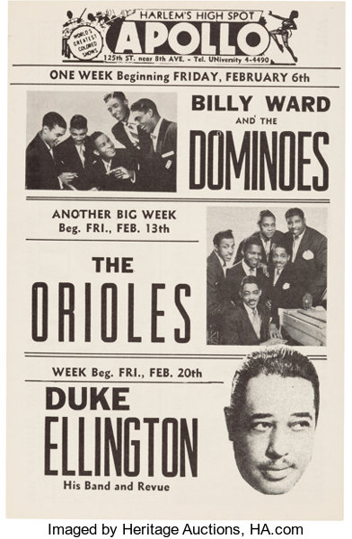 duke ellington ruth brown orioles apollo concert handbill lot