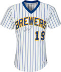 Baseball Collectibles:Uniforms, 1982 Robin Yount Game Worn & Signed Milwaukee Brewers Jersey with Player Letter, MEARS A10. ...