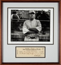Baseball Collectibles:Others, 1946 Babe Ruth Signed Check Display....