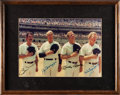 Baseball Collectibles:Photos, 1980's Martin, DiMaggio, Mantle and Ford Multi-Signed OversizedPhotograph, PSA/DNA Mint 9....
