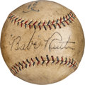 Baseball Collectibles:Balls, 1928 Babe Ruth Single Signed Baseball....