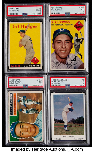 1954 1960 Toppsbell Brand Dodgers Psa Graded Quartet 4