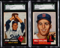 Baseball Cards:Lots, 1935 Topps Johnny Podres & Milt Bolling SGC 40 VG 3 Pair (2) -High Numbers....