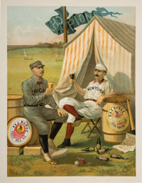 "1889 Cap Anson and Buck Ewing ""Burke Ale"" Beer Advertising Poster"