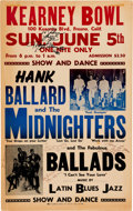 Music Memorabilia:Posters, Hank Ballard And The Midnighters Signed Kearney Bowl Concert Poster(1960). Very Rare....