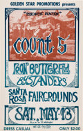 Music Memorabilia:Posters, Count 5/Iron Butterfly Santa Rosa Fairgrounds Concert Poster (1967). Very Rare....